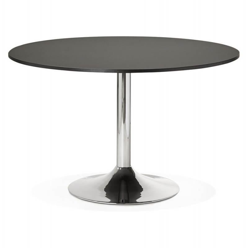 Table de bureau ou repas design ronde ASTA en bois et métal chromé (Ø 120 cm) (noir) - image 28435