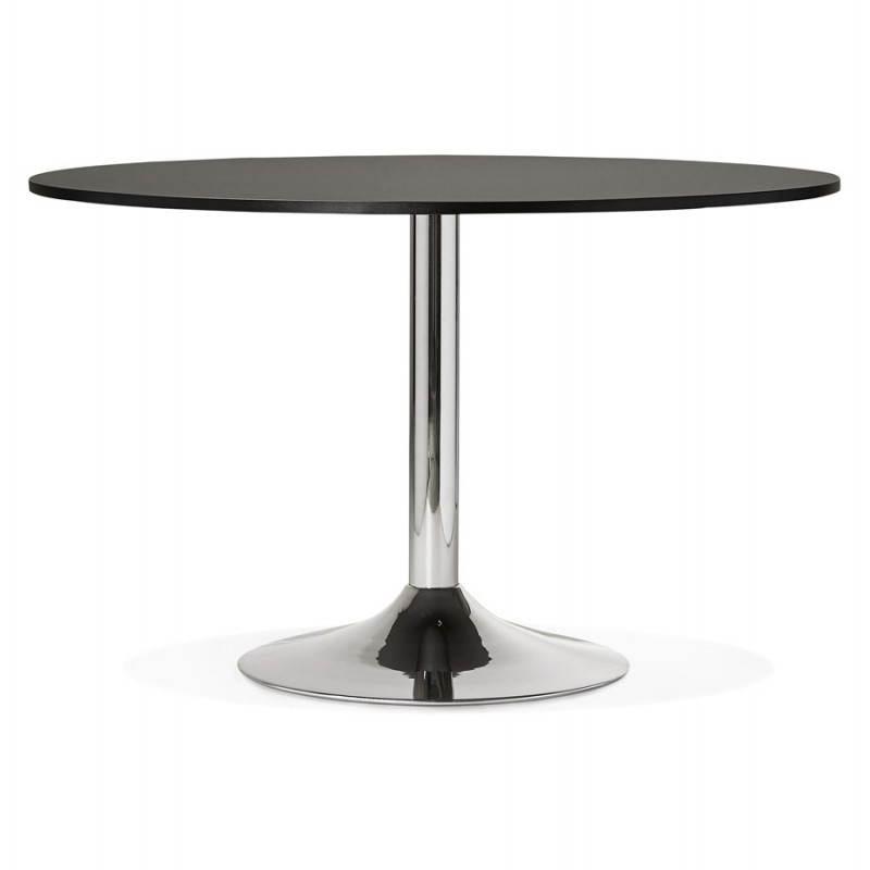 Table de bureau ou repas design ronde ASTA en bois et métal chromé (Ø 120 cm) (noir) - image 28436