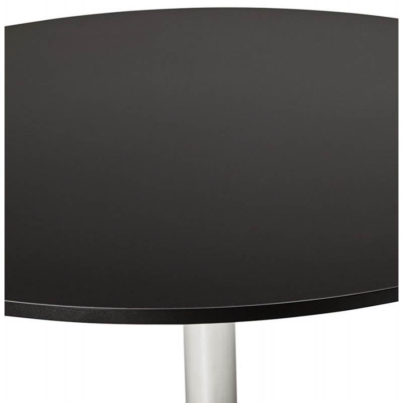 Table de bureau ou repas design ronde ASTA en bois et métal chromé (Ø 120 cm) (noir) - image 28439