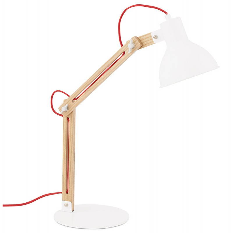 Lampe de table scandinave COTINGA MINI en bois et métal (blanc, naturel) - image 28579