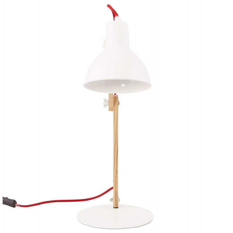 Lampe de table scandinave COTINGA MINI en bois et métal (blanc, naturel) - image 28580