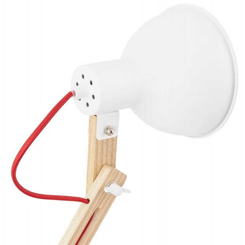 Lampe de table scandinave COTINGA MINI en bois et métal (blanc, naturel) - image 28590