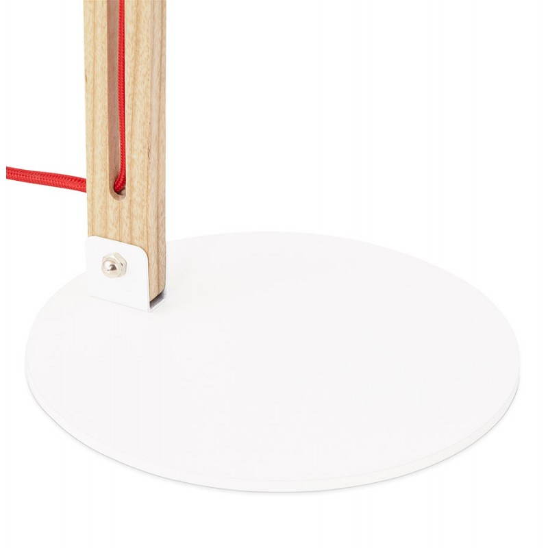 Lampe de table scandinave COTINGA MINI en bois et métal (blanc, naturel) - image 28594