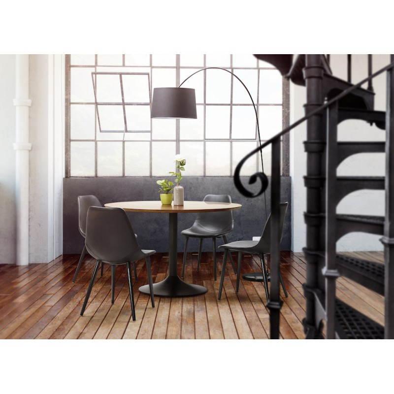 lampe sur pied design aversa tissu noir. Black Bedroom Furniture Sets. Home Design Ideas