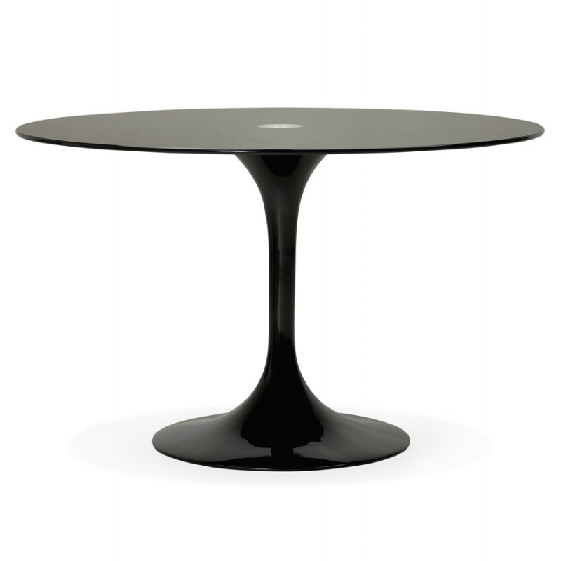 Table Ronde Design Marjorie En Verre 120 Cm Noir