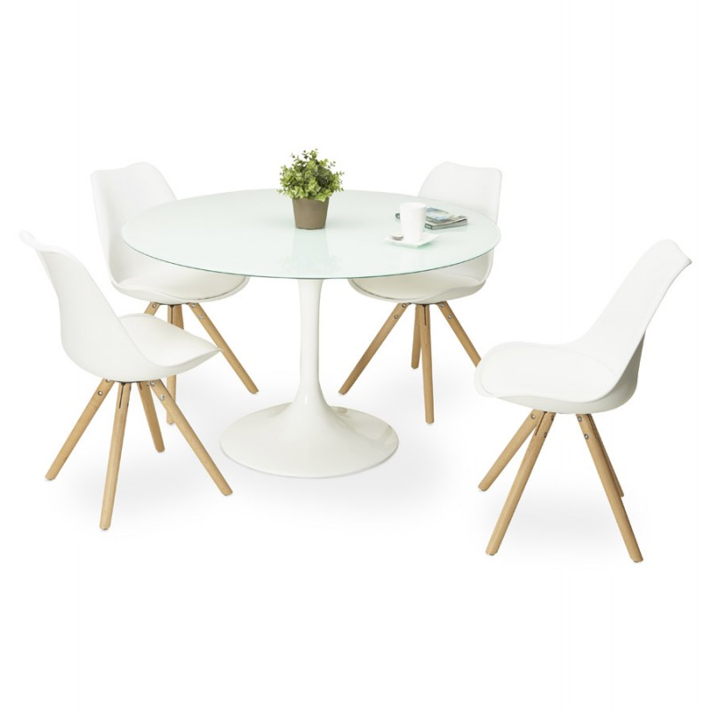 Table ronde design marjorie en verre 120 cm blanc - Table ronde blanc ...