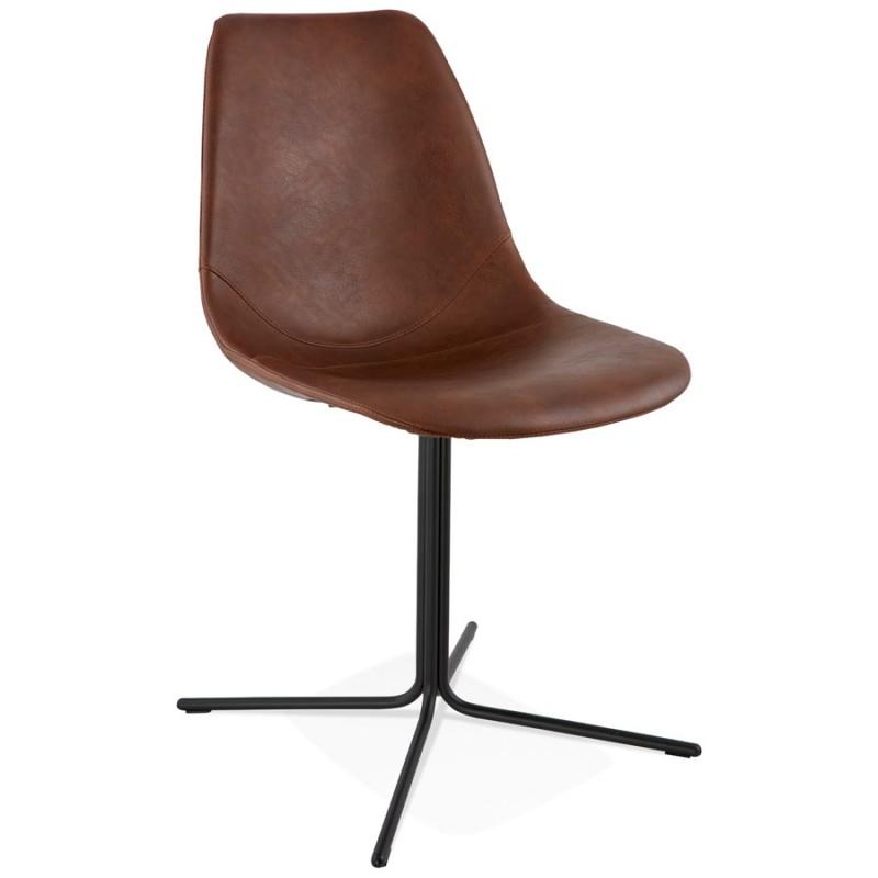 Chaise industrielle OFEN en polyuréthane et métal peint (marron, noir) - image 28993