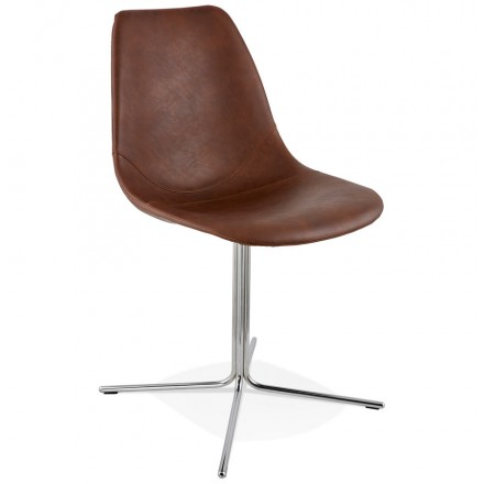 Design chair OFEN in polyurethane and chrome metal (Brown, chrome)