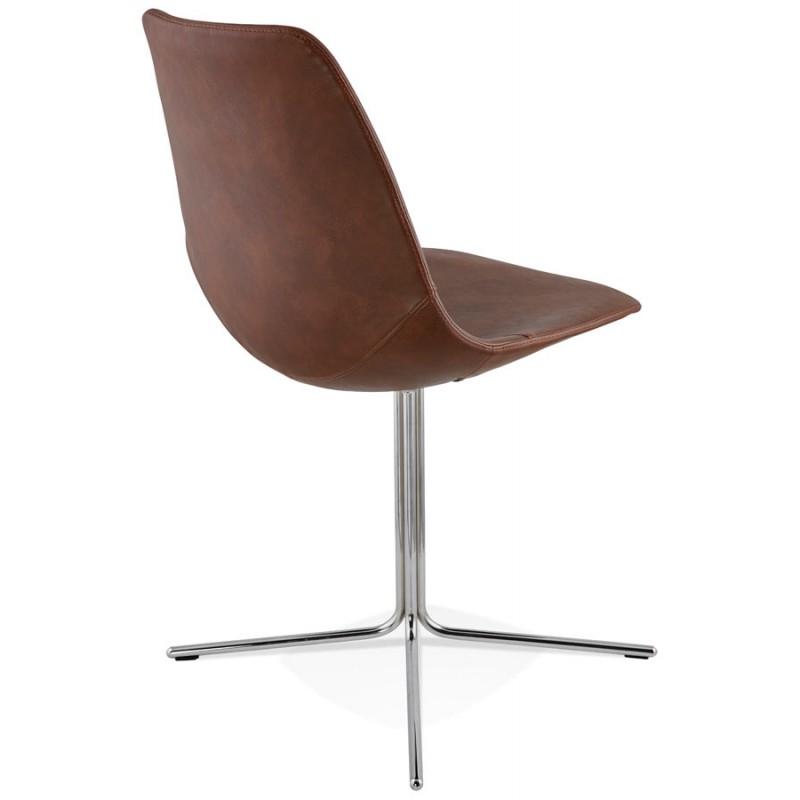 Chaise design OFEN en polyuréthane et métal chromé (marron, chrome) - image 29012