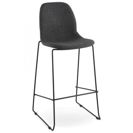 Tabouret de bar chaise de bar design DOLY en tissu (gris foncé)