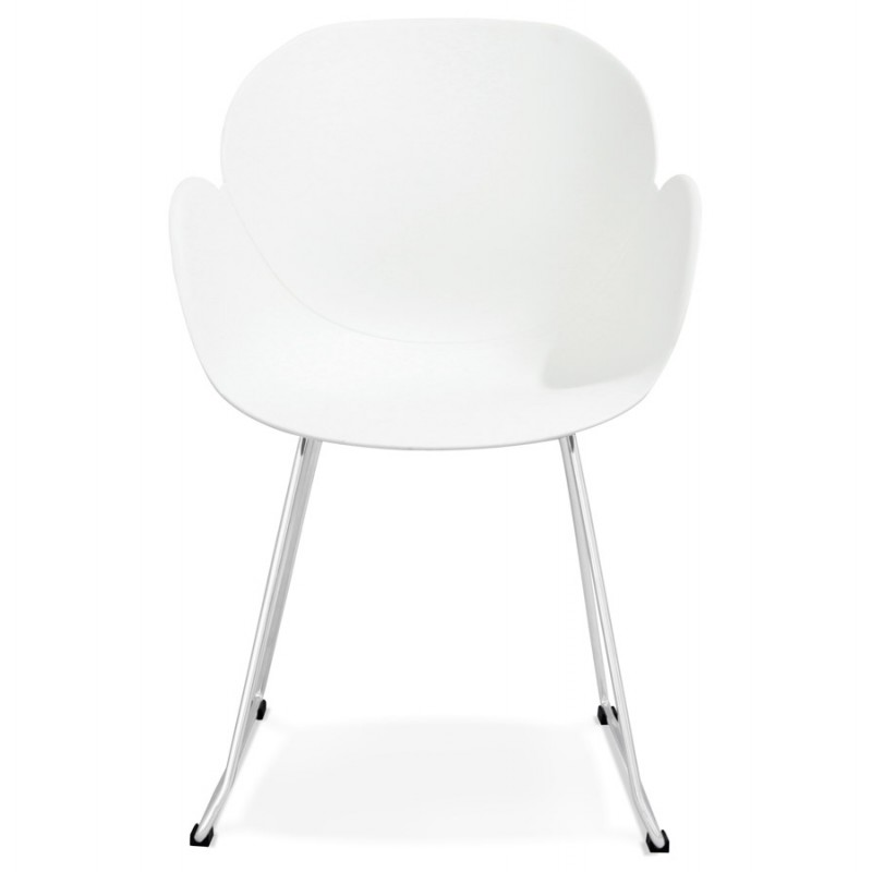 Chaise design pied effil adele en polypropyl ne blanc for Chaise pied rond