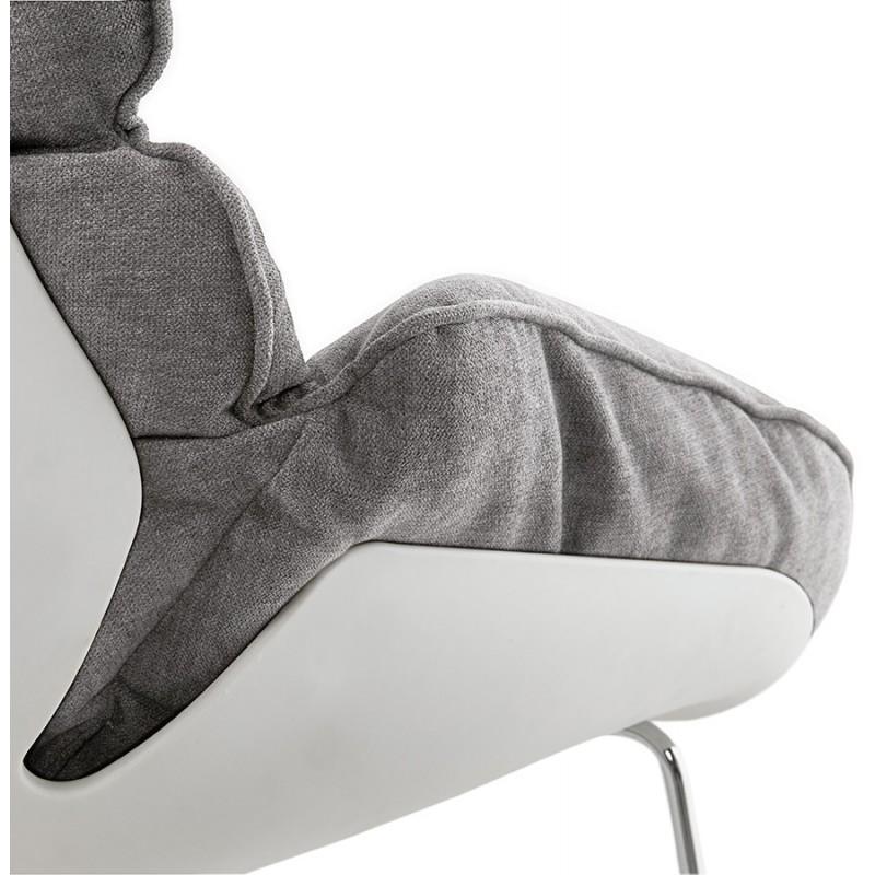 Fauteuil lounge design lilou en tissu gris clair for Fauteuil gris design