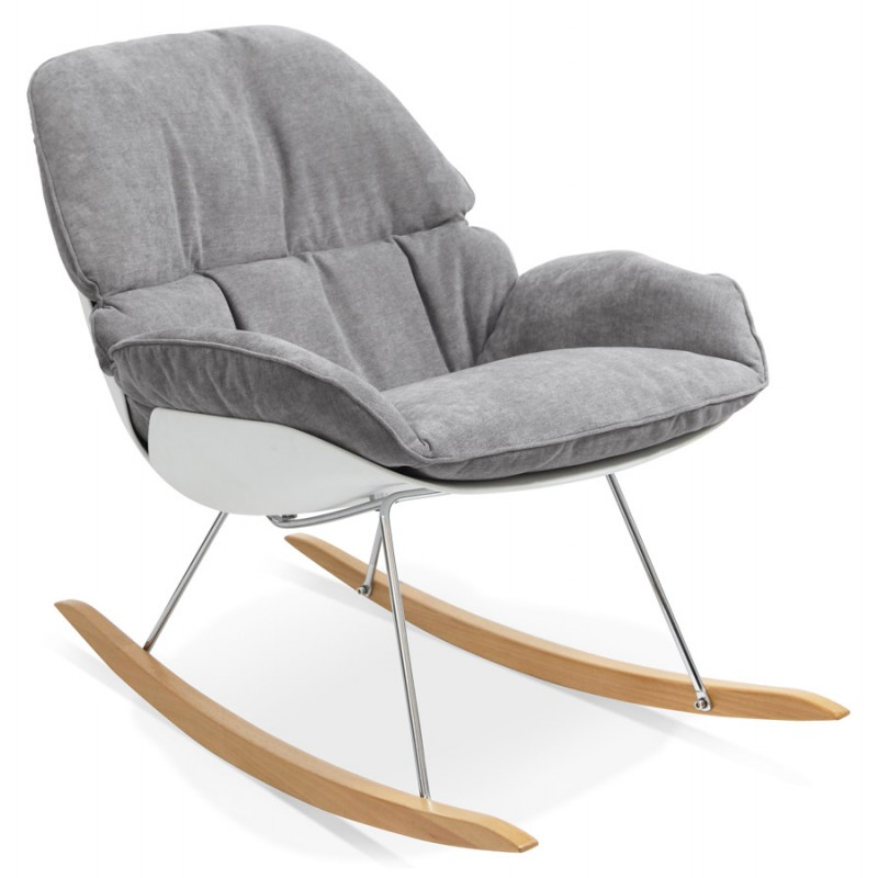 Fauteuil lounge à bascule JADE en tissu (gris clair) - image 29332