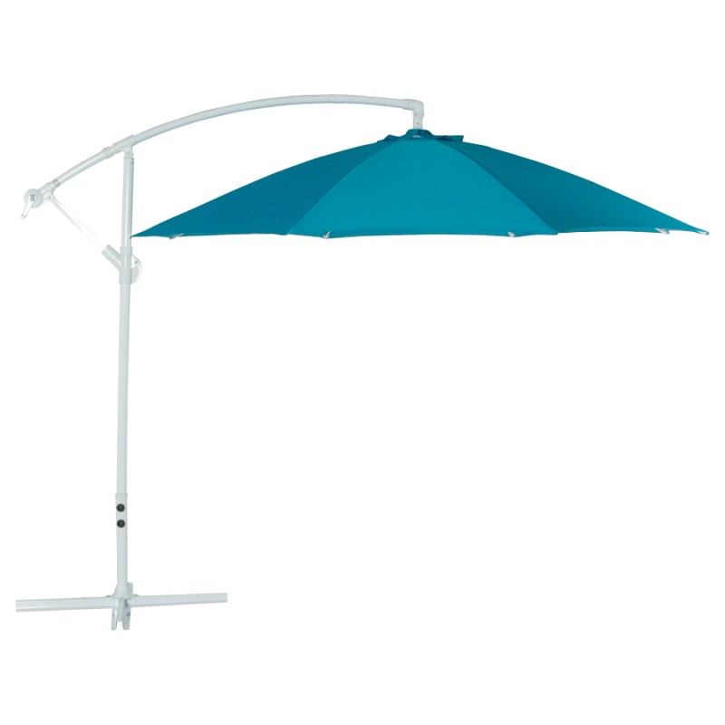 Parasol déporté octogonal ALICE en polyester et aluminium (bleu)