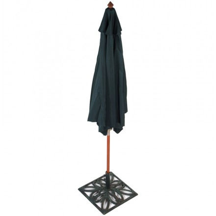 Parasol hexagonal MILOU in polyester and Indonesian wood (green)