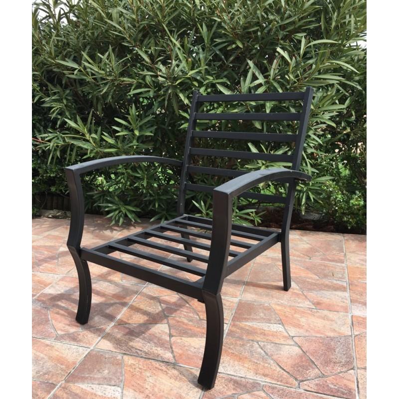 Lot de 4 chaises de jardin crozet aspect fer forg noir - Chaises de jardin en fer ...