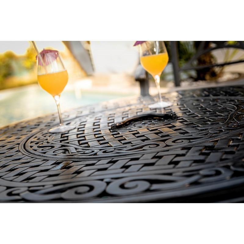 Table de jardin basse ronde MOOREA aspect fer forgé (noir) - image 29440