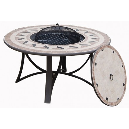 Table round low garden Hawaii aspect wrought iron and mosaic (black, beige)