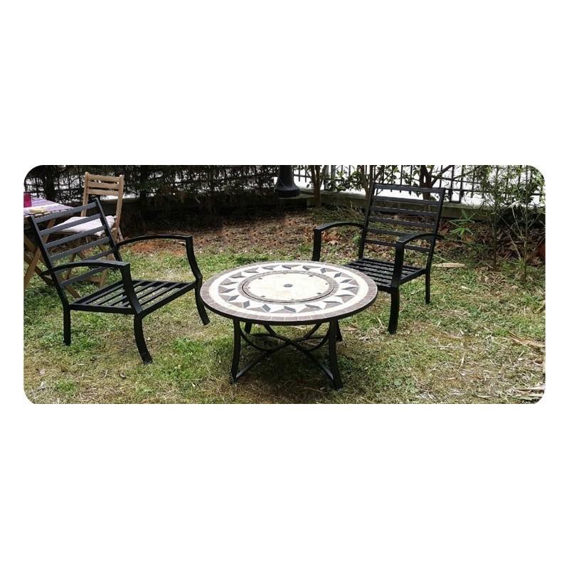 Table de jardin basse ronde HAWAI aspect fer forgé et mosaïque (noir, beige) - image 29461