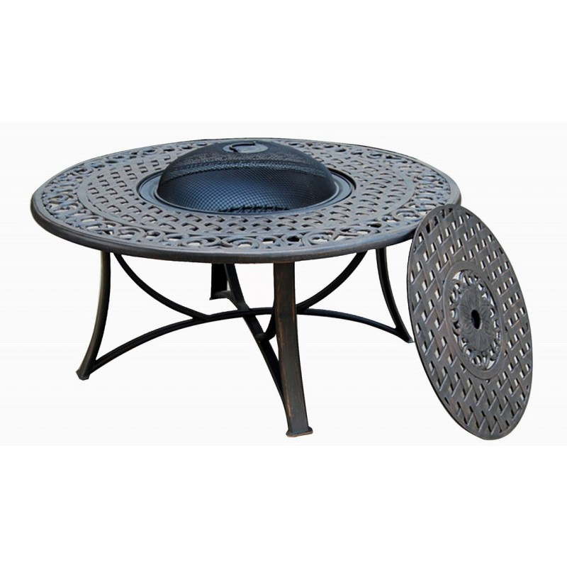 Salon de jardin table basse ronde 4 chaises de jardin elbe aspect fer forg - Table de jardin ronde en fer forge ...