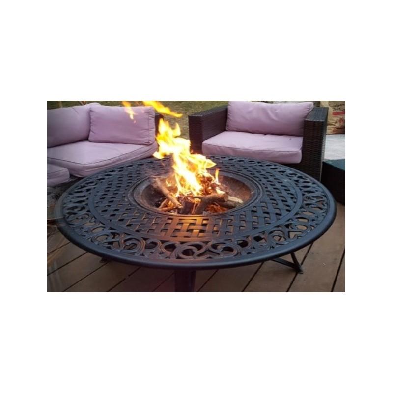 Salon de jardin table basse ronde 4 chaises de jardin elbe aspect fer forg noir - Table jardin fer forge ronde caen ...