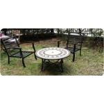 Living room of garden round coffee table + 4 chairs FILAIE aspect iron wrought and mosaic (black, beige)