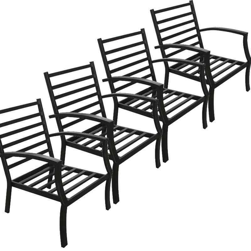 Lot de 4 chaises de jardin CROZET aspect fer forgé (noir) - image 29532