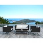 Posti di mobili da giardino 4 Tanzania tessuto resina (nero, bianco)