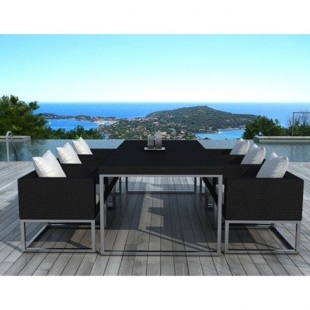 Dining table and 6 chairs garden PUEBLO in woven resin (black, white ...