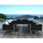 Tavolo da pranzo e 6 sedie da giardino PUEBLO in resina intrecciata (cuscini neri, bianchi/ecru)