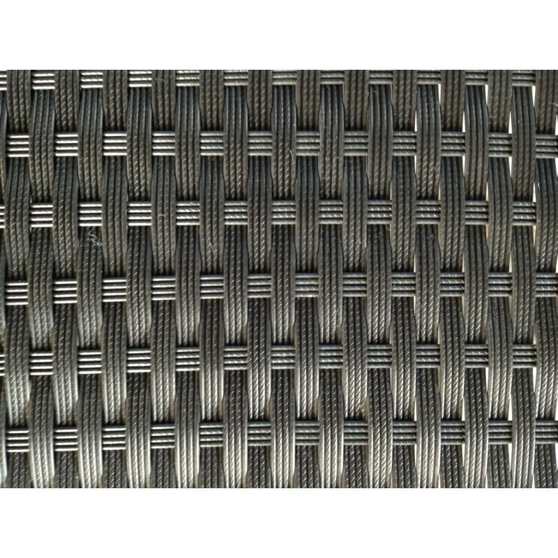 Table à manger et 6 fauteuils de jardin PUEBLO en résine tressée (noir, coussins blanc/écru) - image 29791
