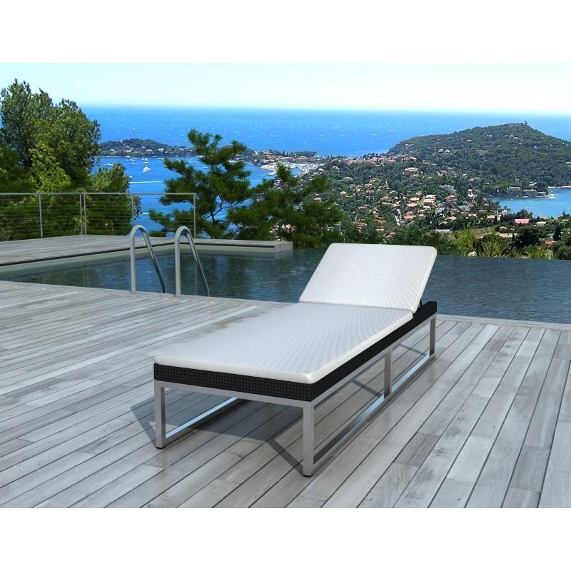 bain de soleil transat 5 positions gaby en r sine tress e noir blanc. Black Bedroom Furniture Sets. Home Design Ideas