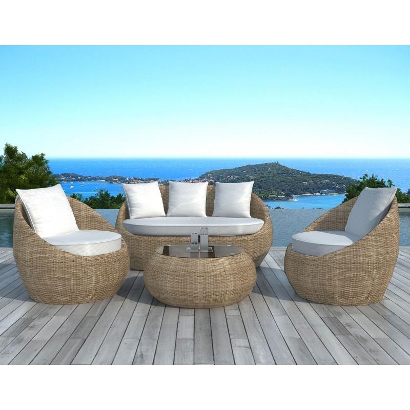 Salon de jardin 5 places diego en r sine tress e ronde rotin beige for Salon de jardin la redoute