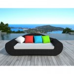 Garden sofa 4 places DIANA round braided resin (black, color cushions)