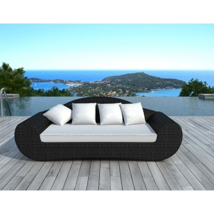 Garden sofa 4 places DIANA round braided resin (black, white/ecru cushions)