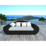 Canapé de jardin 4 places DIANA en résine tressée ronde (noir, coussins blanc/écru)