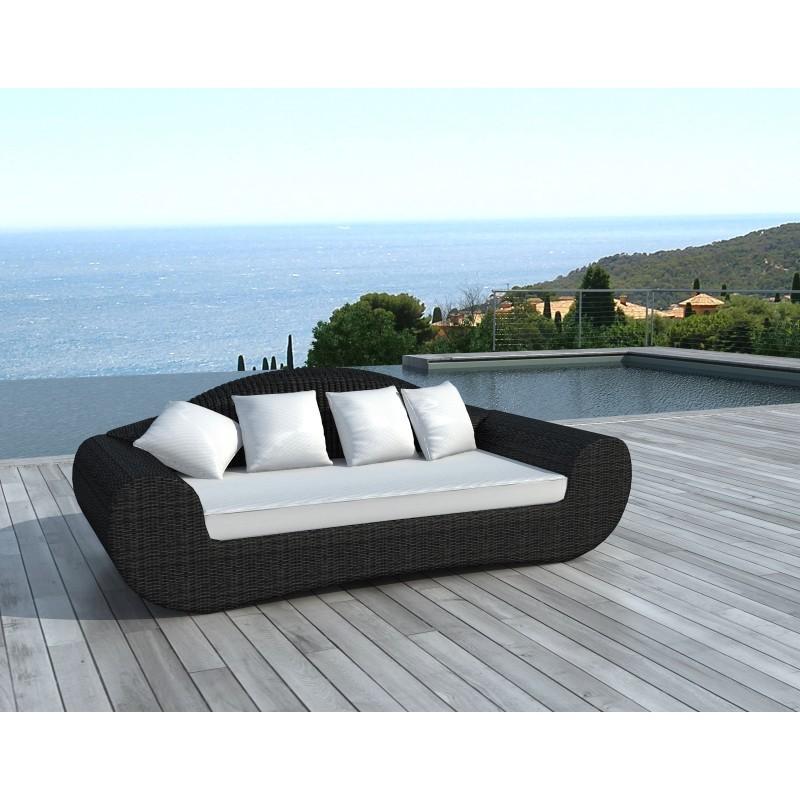 Canapé de jardin 4 places DIANA en résine tressée ronde (noir, coussins blanc/écru) - image 29810