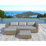 Mobili da giardino 4 posti BILBAO rotondo resina intrecciata (cuscini grigi chiaro, beige)