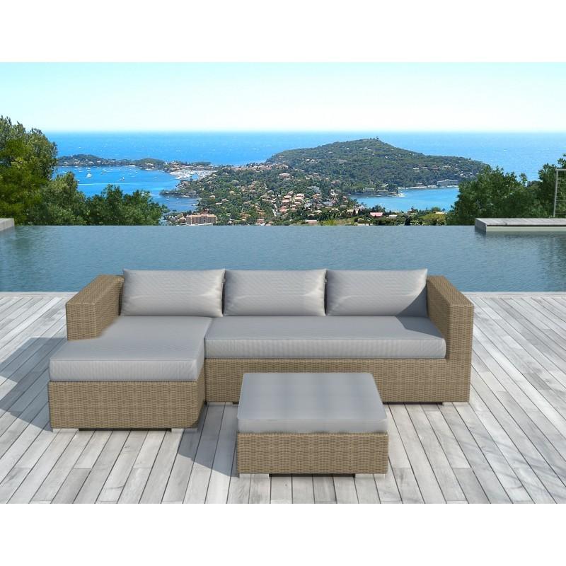 Salon de jardin 4 places BILBAO en résine tressée ronde (beige, coussins gris clair) - image 29821