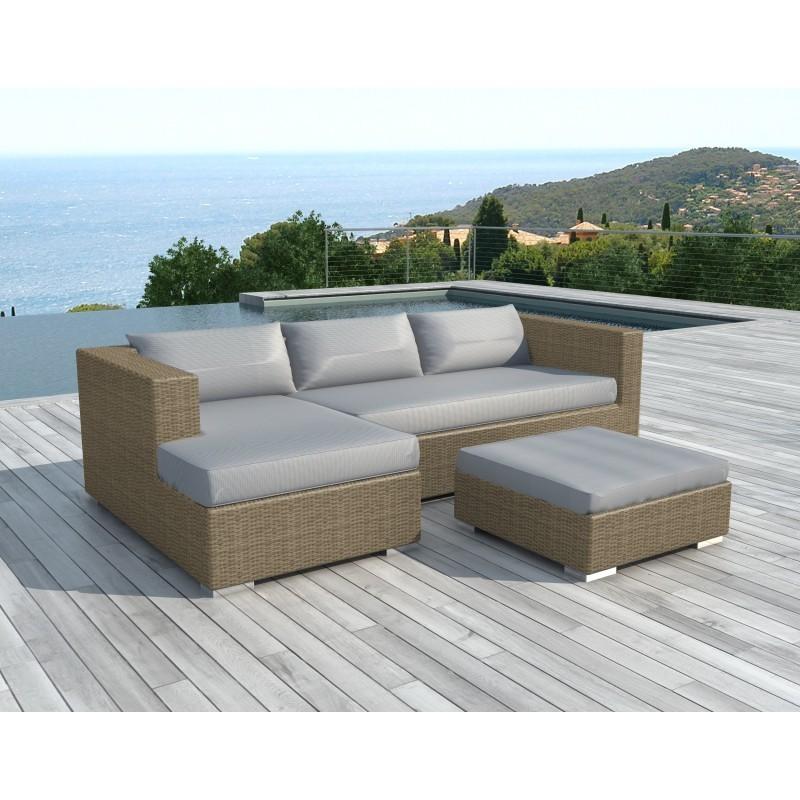Salon de jardin 4 places BILBAO en résine tressée ronde (beige, coussins gris clair) - image 29822