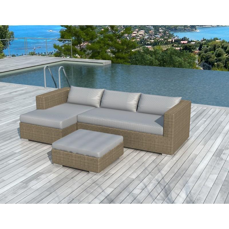 Salon de jardin 4 places BILBAO en résine tressée ronde (beige, coussins gris clair) - image 29823