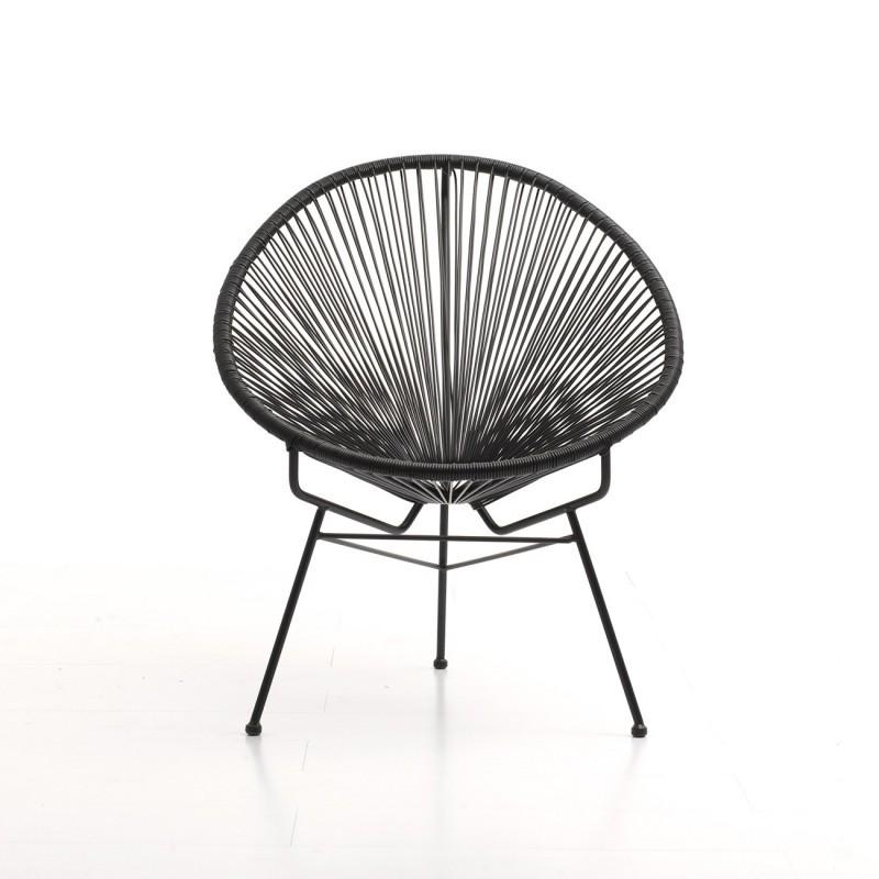 Fauteuil de jardin MAJORQUE en résine tressée ronde (noir) - image 29824