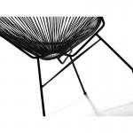 Fauteuil de jardin MAJORQUE en résine tressée ronde (noir)