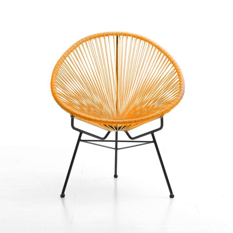 Fauteuil de jardin MAJORQUE en résine tressée ronde (orange) - image 29836