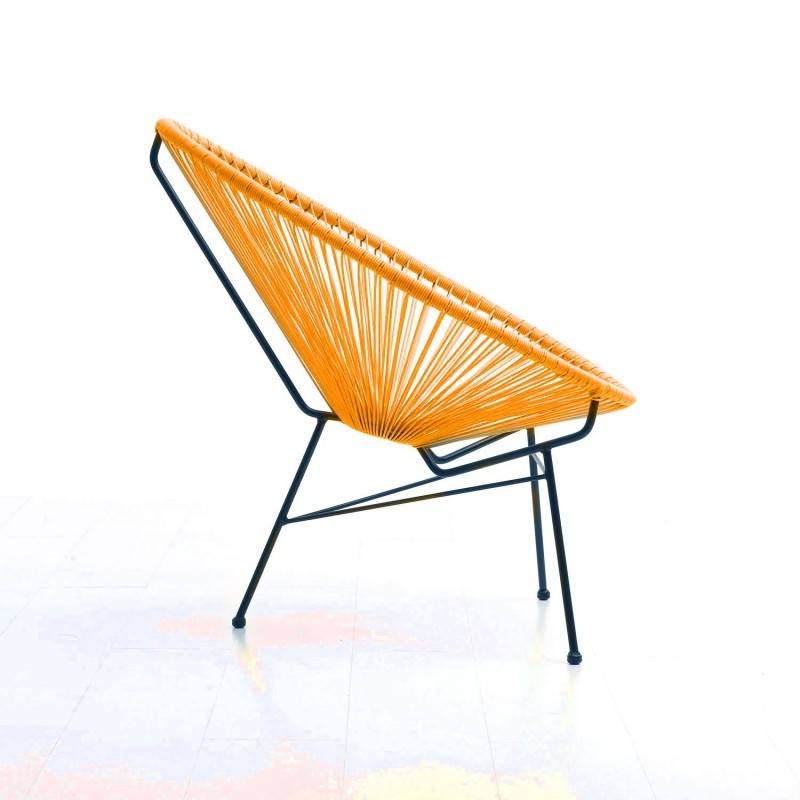 Fauteuil de jardin MAJORQUE en résine tressée ronde (orange) - image 29837