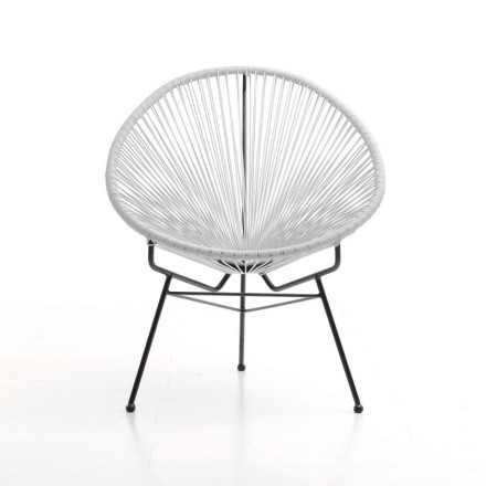 Chair of garden Mallorca round braided resin (white)