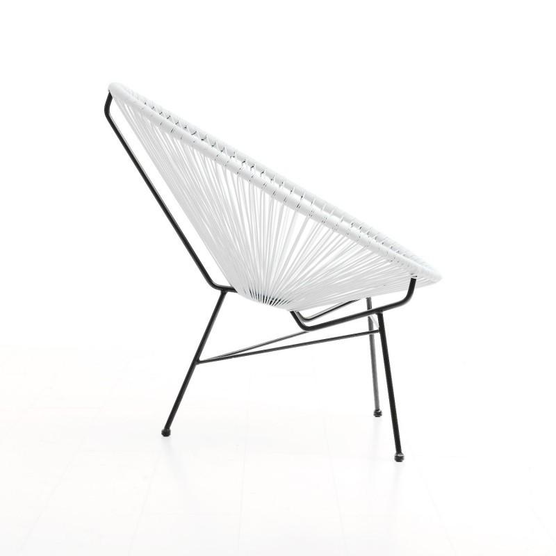 Fauteuil de jardin MAJORQUE en résine tressée ronde (blanc) - image 29841