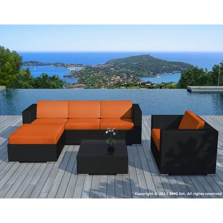 Garden furniture 5 squares SEVILLE woven resin (black, orange cushions)