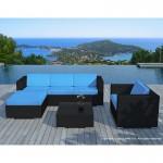 Resina di mobili da giardino 5 piazze SEVILLE tessuto (cuscini neri, blu)