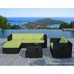 Resina di mobili da giardino 5 piazze SEVILLE tessuto (cuscini neri, verde)